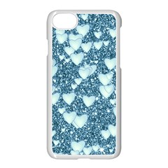 Hearts On Sparkling Glitter Print, Teal Apple Iphone 8 Seamless Case (white) by MoreColorsinLife