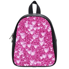 Hearts On Sparkling Glitter Print, Pink School Bag (small) by MoreColorsinLife