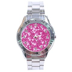 Hearts On Sparkling Glitter Print, Pink Stainless Steel Analogue Watch by MoreColorsinLife