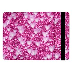 Hearts On Sparkling Glitter Print, Pink Samsung Galaxy Tab Pro 12 2  Flip Case by MoreColorsinLife