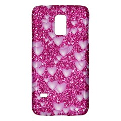 Hearts On Sparkling Glitter Print, Pink Galaxy S5 Mini by MoreColorsinLife