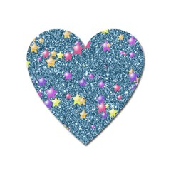 Stars On Sparkling Glitter Print, Blue Heart Magnet by MoreColorsinLife