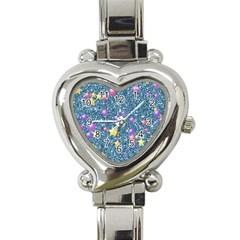 Stars On Sparkling Glitter Print, Blue Heart Italian Charm Watch by MoreColorsinLife