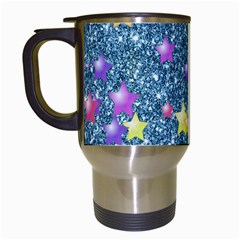 Stars On Sparkling Glitter Print, Blue Travel Mugs (white) by MoreColorsinLife