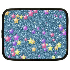 Stars On Sparkling Glitter Print, Blue Netbook Case (large) by MoreColorsinLife