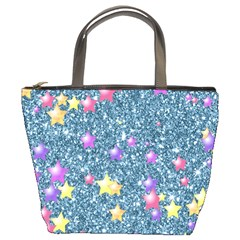Stars On Sparkling Glitter Print, Blue Bucket Bags by MoreColorsinLife