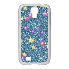 Stars On Sparkling Glitter Print, Blue Samsung Galaxy S4 I9500/ I9505 Case (white) by MoreColorsinLife