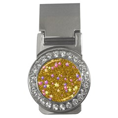 Stars On Sparkling Glitter Print,golden Money Clips (cz)