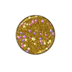 Stars On Sparkling Glitter Print,golden Hat Clip Ball Marker (4 Pack) by MoreColorsinLife