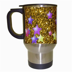Stars On Sparkling Glitter Print,golden Travel Mugs (white) by MoreColorsinLife