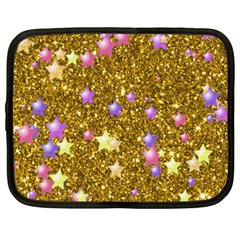 Stars On Sparkling Glitter Print,golden Netbook Case (xxl)  by MoreColorsinLife