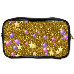 Stars On Sparkling Glitter Print,golden Toiletries Bags 2 Side by MoreColorsinLife