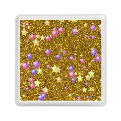 Stars On Sparkling Glitter Print,golden Memory Card Reader (square)  by MoreColorsinLife