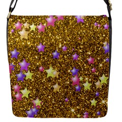 Stars On Sparkling Glitter Print,golden Flap Messenger Bag (s) by MoreColorsinLife