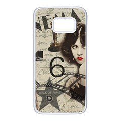 Vintage Cinema Samsung Galaxy S7 White Seamless Case by Valentinaart