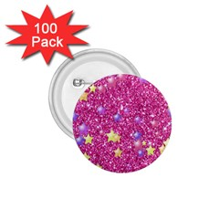 Stars On Sparkling Glitter Print,pink 1 75  Buttons (100 Pack)  by MoreColorsinLife