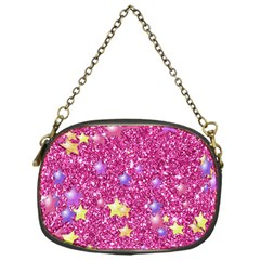 Stars On Sparkling Glitter Print,pink Chain Purses (one Side)  by MoreColorsinLife