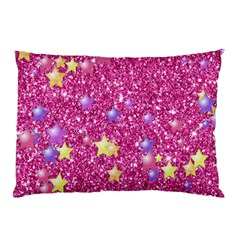 Stars On Sparkling Glitter Print,pink Pillow Case by MoreColorsinLife