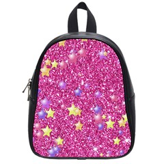 Stars On Sparkling Glitter Print,pink School Bag (small) by MoreColorsinLife