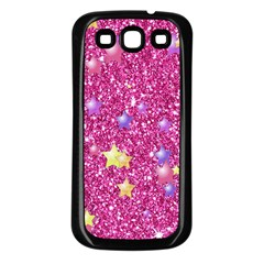 Stars On Sparkling Glitter Print,pink Samsung Galaxy S3 Back Case (black) by MoreColorsinLife