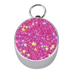 Stars On Sparkling Glitter Print,pink Mini Silver Compasses by MoreColorsinLife