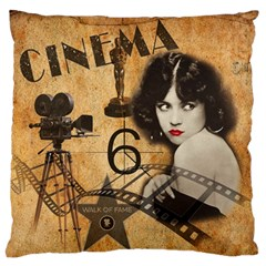 Vintage Cinema Large Flano Cushion Case (one Side) by Valentinaart