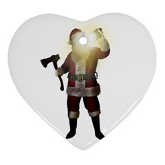 Santa Killer Heart Ornament (two Sides) by Valentinaart