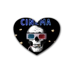 Cinema Skull Rubber Coaster (heart)  by Valentinaart