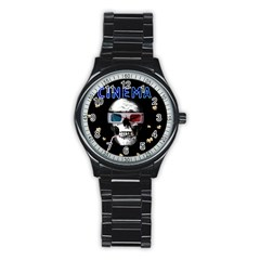 Cinema Skull Stainless Steel Round Watch