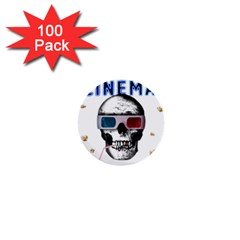 Cinema Skull 1  Mini Buttons (100 Pack)  by Valentinaart
