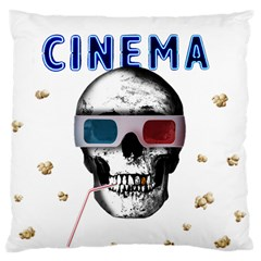 Cinema Skull Large Cushion Case (two Sides) by Valentinaart