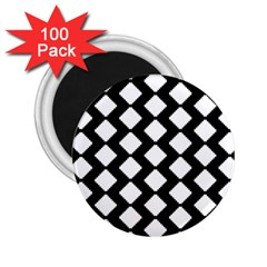 Abstract Tile Pattern Black White Triangle Plaid 2 25  Magnets (100 Pack)