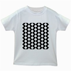 Abstract Tile Pattern Black White Triangle Plaid Kids White T Shirts by Alisyart