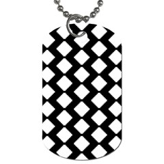 Abstract Tile Pattern Black White Triangle Plaid Dog Tag (one Side) by Alisyart