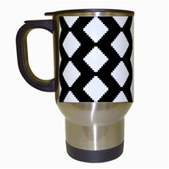 Abstract Tile Pattern Black White Triangle Plaid Travel Mugs (white) by Alisyart