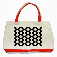 Abstract Tile Pattern Black White Triangle Plaid Classic Tote Bag (red) by Alisyart