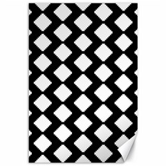Abstract Tile Pattern Black White Triangle Plaid Canvas 12  X 18