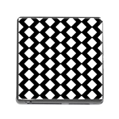 Abstract Tile Pattern Black White Triangle Plaid Memory Card Reader (square)