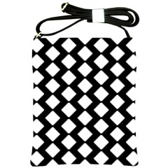 Abstract Tile Pattern Black White Triangle Plaid Shoulder Sling Bags