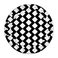 Abstract Tile Pattern Black White Triangle Plaid Round Filigree Ornament (two Sides) by Alisyart