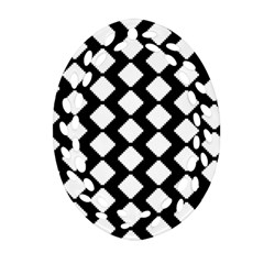 Abstract Tile Pattern Black White Triangle Plaid Ornament (oval Filigree) by Alisyart