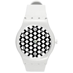 Abstract Tile Pattern Black White Triangle Plaid Round Plastic Sport Watch (m)