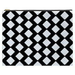 Abstract Tile Pattern Black White Triangle Plaid Cosmetic Bag (xxxl)