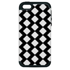 Abstract Tile Pattern Black White Triangle Plaid Apple Iphone 5 Hardshell Case (pc+silicone)