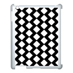 Abstract Tile Pattern Black White Triangle Plaid Apple Ipad 3/4 Case (white)