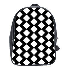 Abstract Tile Pattern Black White Triangle Plaid School Bag (xl)