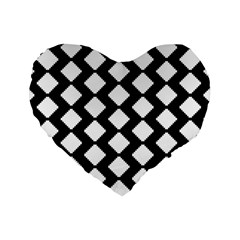 Abstract Tile Pattern Black White Triangle Plaid Standard 16  Premium Heart Shape Cushions