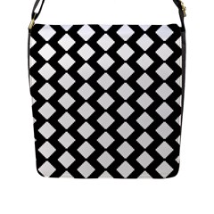 Abstract Tile Pattern Black White Triangle Plaid Flap Messenger Bag (l)