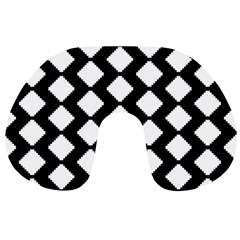 Abstract Tile Pattern Black White Triangle Plaid Travel Neck Pillows