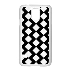Abstract Tile Pattern Black White Triangle Plaid Samsung Galaxy S5 Case (white)